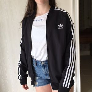 adidas black zip up jacket